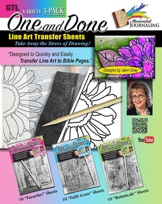 One and Done 3-Pack, Line Art Transfer Sheets  -