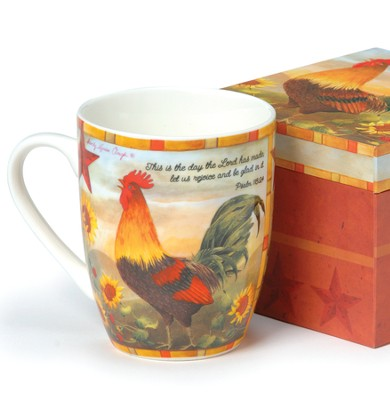 Rooster Mug; Psalm 118:24   -     By: Sandy Clough