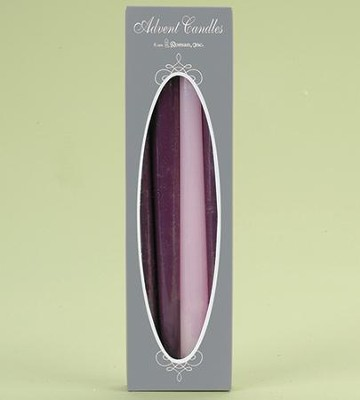 Advent Candles, 3/4 x 10, Boxed Set of 4: 3 Purple, 1 Pink   -