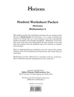 Horizons Mathematics Grade 5 Student worksheet packet  -