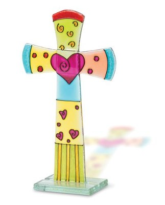 Fused Glass Table Cross, Flared With Heart   -