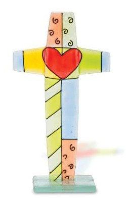 Fused Glass Cross With Heart   -