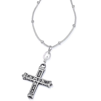 Ibi Amor Ubi Fides, Sterling Silver Cross Pendant with 18 Sterling Chain  -