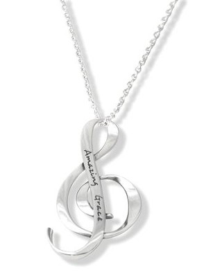 Amazing Grace G Clef--Sterling Silver Pendant   -