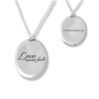 Love Never Fails, Sterling Silver Pendant   -