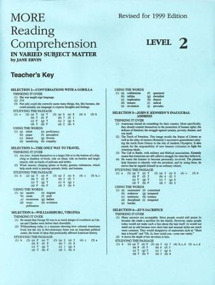 More reading comprehension key level 2 grade 10 jane ervin more reading comprehension key level 2 grade 10 by jane ervin fandeluxe Image collections