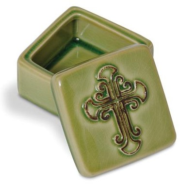 Green Ceramic Box With Crackle Finish  -
