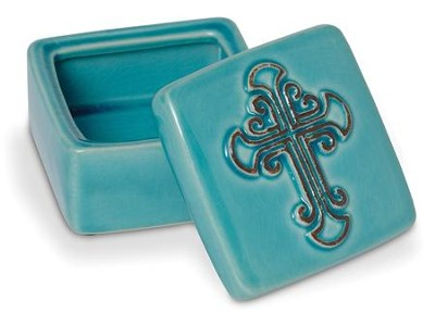 Turquoise Ceramic Box With Crackle Finish  -