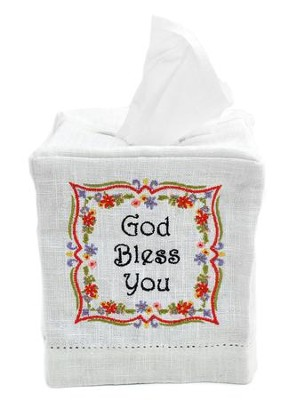God Bless You Fabric Tissue Box Cover, Cube Style  -