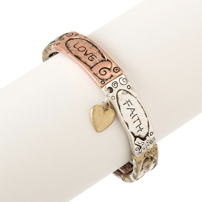 Stretch Bracelet, Heart Faith, TriColor   -