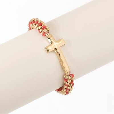 Rolled Bead Cross Stretch Bracelet, Peach and Gold Bead, Gold Cross  -