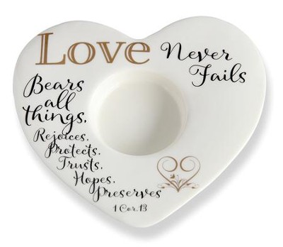 Love Never Fails, Heart Shaped Tealight Holder   -
