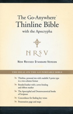 NRSV Go-Anywhere Personal-Size Thinline Bible with the Apocrypha--Bonded Leather, Black - Slightly Imperfect  -