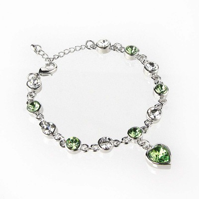Heart Bracelet, Silver and Green  -