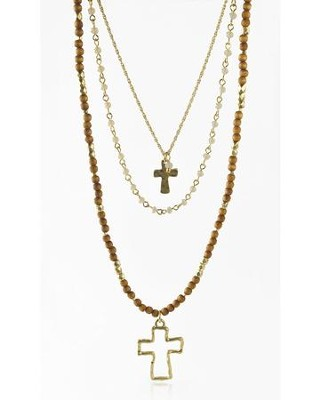 Double Cross, Wood Bead Necklace  -