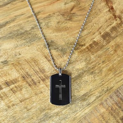 Dog Tag with Cross Pendant  -