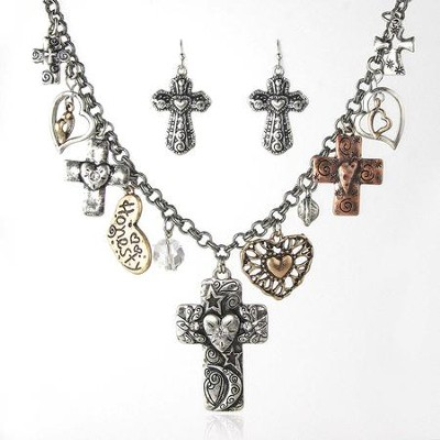 Crosses and Hearts Necklace and Earrings Set  -