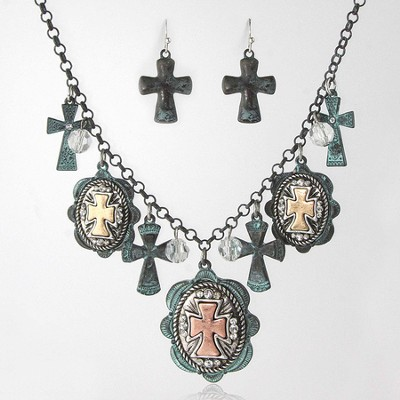 Assorted Crosses Necklace and Earrings Set  -