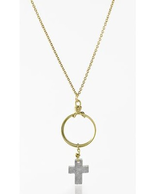 Cross Necklace, Silver, with Gold Chain  -