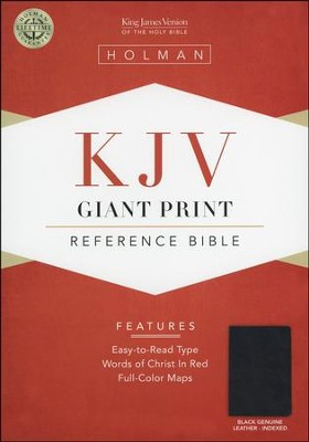 KJV Giant Print Reference Bible, Genuine leather, Black,  Thumb-Indexed  -