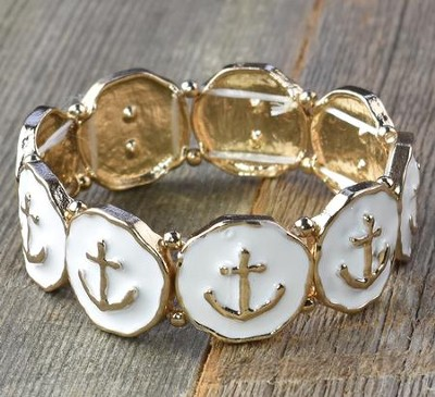 Anchor Stretch Bracelet, White & Gold  -