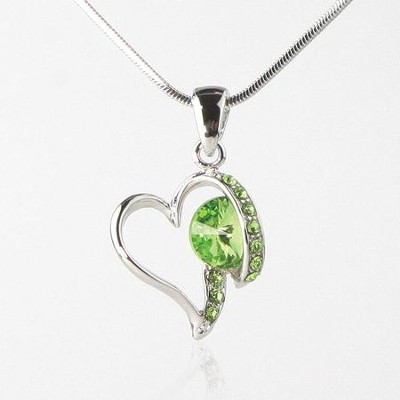Heart Necklace, Green  -