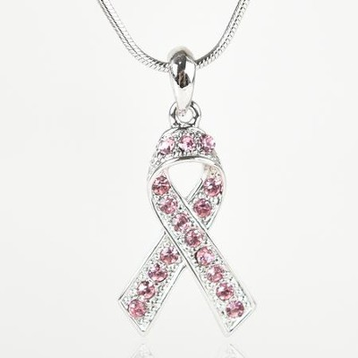 Pink Ribbon Necklace  -