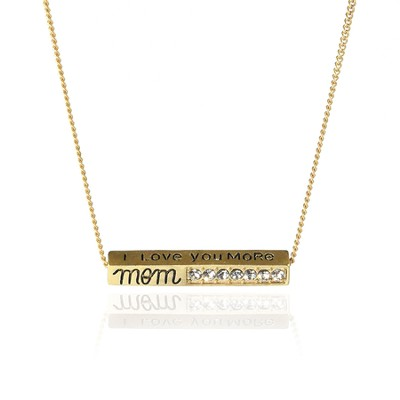 I Love You More Mom Gold Metal Necklace  -