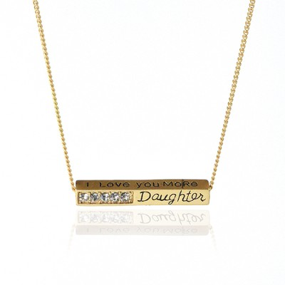 I Love You More Daughter Gold Metal Necklace  -