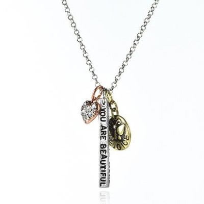 You Are Beautiful Metal Necklace  -