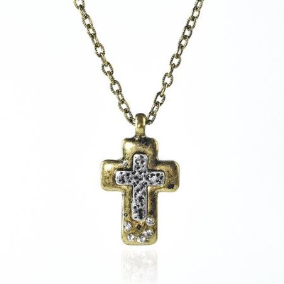 Double Cross Metal Necklace  -