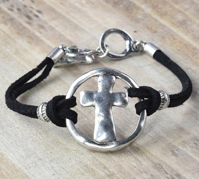 Cross Bracelet, Silver and Black  -