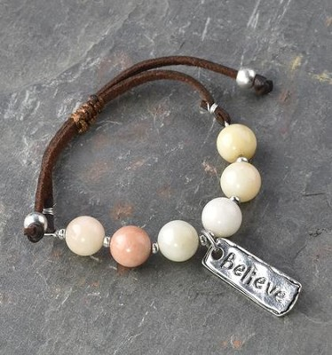Believe Bead Bracelet, Suede and Beads  -