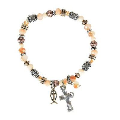 Beaded Bracelet with Ichthus and Cross Charms  -
