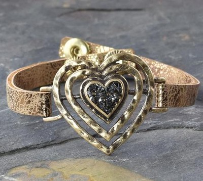 Heart Bracelet, Leather-Like  -