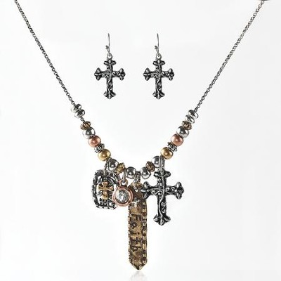 Faith Metal Necklace & Earring Gift Set  -