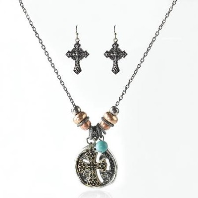 Round Cross Necklace & Earring Gift Set  -