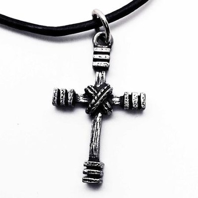 Pewter Cross Pendant With Rugged Wood Tone  -