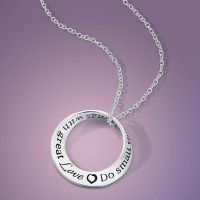 Do Small Things With Great Love, Sterling Silver, Mobius Necklace   -
