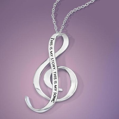 Blessed Assurance, Sterling Silver, G-Clef Necklace   -