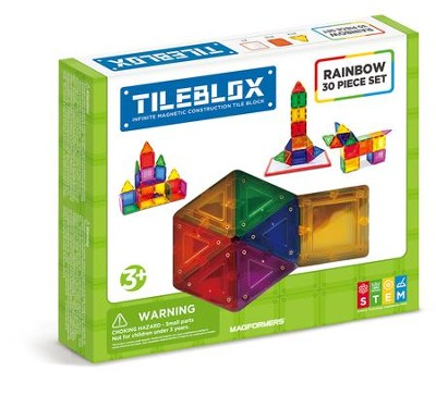 Magformers Rainbow Tiles, 30 Piece Set with Magnetic Activity Board  -