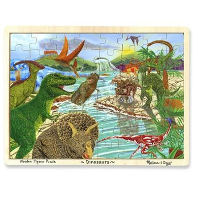 Dinosaurs, Wooden Jigsaw Puzzle with tray   -     By: Melissa & Doug