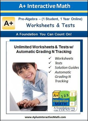 Math Worksheets & Tests with Automatic Grading N Tracking Grades 7 & 8 (Pre-Algebra; 1 Year Access)  -