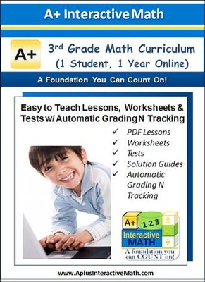 Math Curriculum Lesson eBooks, Worksheets & Tests with Automatic Grading N Tracking Grade 3 (1 Year Access)  -