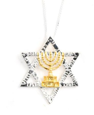 Silver Star of David with Menorah, Necklace   -
