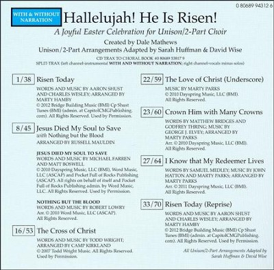 Hallelujah! He Is Risen!: A Joyful Easter Celebration for Unison/2-Part Choir (Split-Track Accompaniment CD)  -     By: Dale Mathews, Sarah Huffman, David Wise