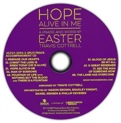 Hope Alive in Me, Split-Track Accompaniment, CD   -     By: Travis Cottrell, David Moffitt, Sue C. Smith