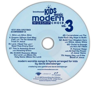 Brentwood Kids Music Modern Worship Choir Volume 3, Split-Track Accompaniment  -     By: David Ebensberger