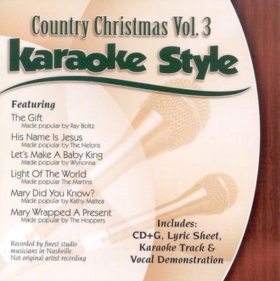 Country Christmas, Volume 3, Karaoke Style CD   -