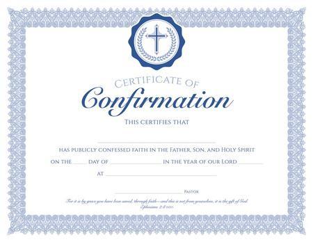 KJV - Premium Blue Foil Embossed Certificate of Membership 8.5 x 11 Church Membership Package of 6 KJV Scripture